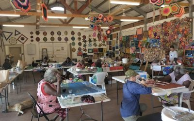 Female Wik and Kugu artists paint their stories